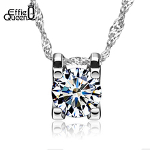 Effie Queen Fashion Women Necklace AAA Grade Austria Crystal Square Pendant Necklace WN05