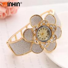 MINHIN Big Flower Design Watch Bangle For Women Gold Plated Hollow Wrist Cuff Bracelet Luxury Quartz Watch Casual Wristwatch