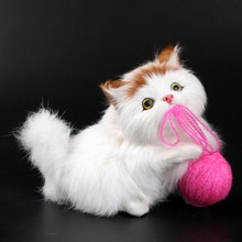 Lovely Simulation Plush cats toys playing wool ball 2016 New Simulation animal doll plush cats toy Creative gifts for girls boys