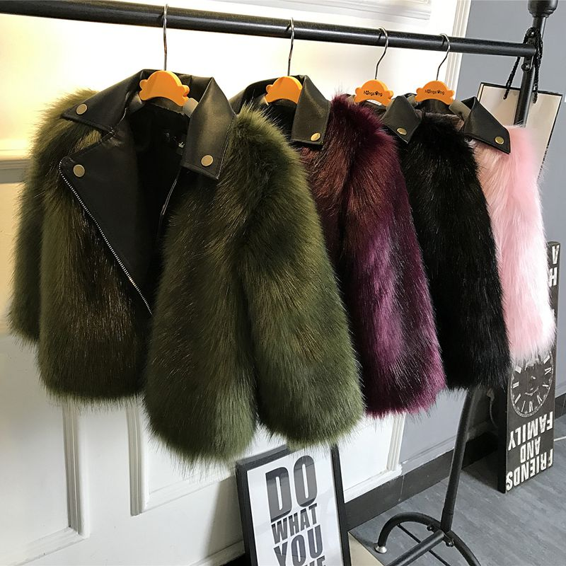 CHCDMP New Girl Fur Coat Jacket Imitation Fox Artificial Fur Grass Plush+leather Fake 2 Pieces Winter Warm Kids Outerwear Coats<br>