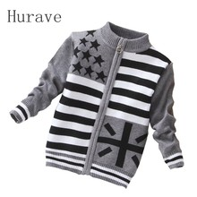 Hurave Cardigan cool boys sweter winter new boy sweater jacket high quality zipper sweater baby outfit casual boy