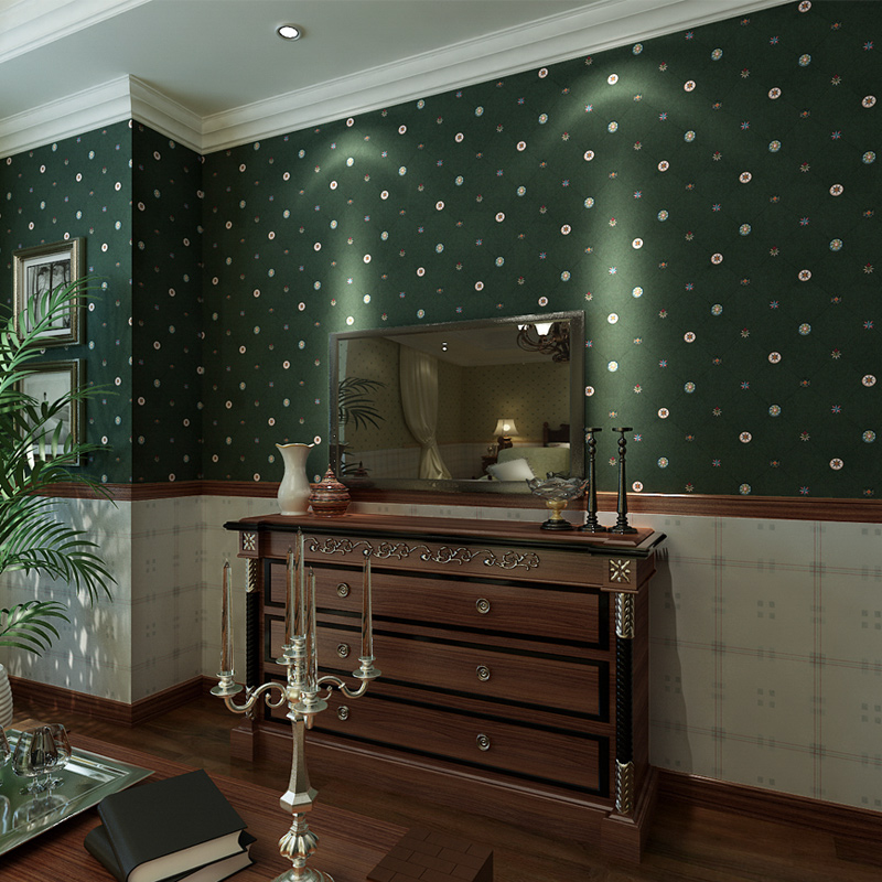 Punahou vintage green non-woven wallpaper american classic check wallpaper background wallpaper <br>