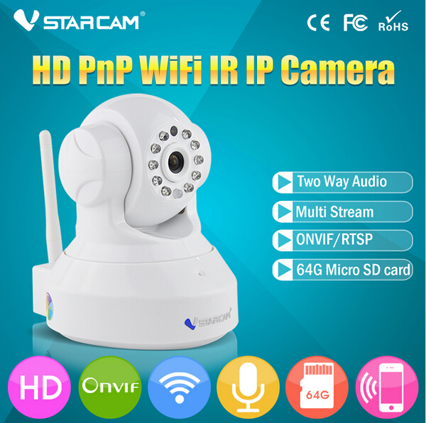 White Vstarcam C7837WIP HD 720P Wifi IP Camera Wireless Support 64G SD Card And Two Way Audio P2P IP Security Camera<br><br>Aliexpress