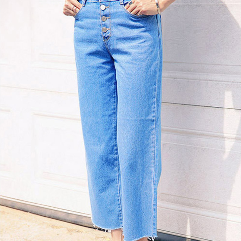 Autumn Summer Women Boyfriend Jeans Loose Straight Button Jeans Female Hole High Waist Pants Collapse Jeans Wash Одежда и ак�е��уары<br><br><br>Aliexpress