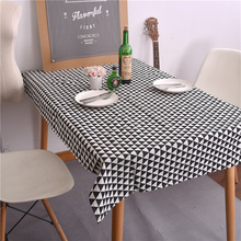 High Quality Tablecloth Linen Black And White Square Table Cloth Rectangle Dinner Mat Cover Overlays Wedding Home Decor Textiles