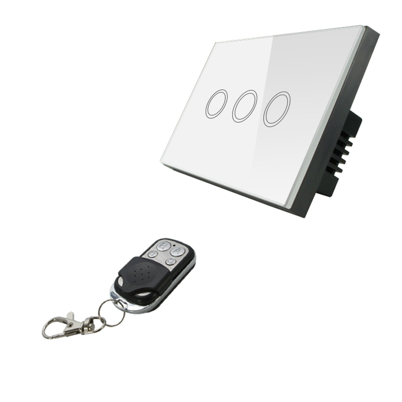 AU/US Standard VHOME Remote Control Switch 3 Gang 1 Way,Wireless White Crystal Glass Switch Panel Touch Switch and 433Mhz Remote<br><br>Aliexpress