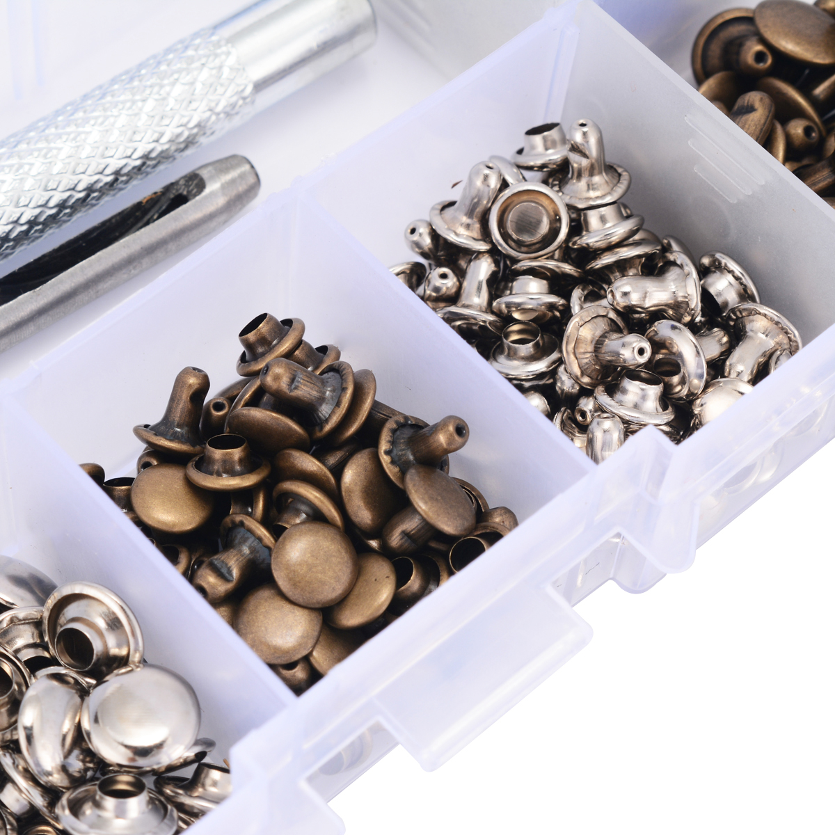 120 Set Silver + Bronze Rivets DIY Crafts Leather Repairing Rivets Tubular Metal Single with Fixing Tool Kit with Storage Box