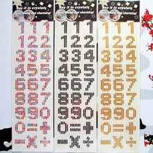 Number Stickers Self-adhesive Rhinestone Scrapbook Notebook Decorative letter/alphabet(China)