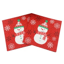 New Chic Red Paper Towel DIY Party Paper Christmas Snowman Fabric Paper Napkin Christmas Decorative Funny Festival Style(China)