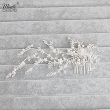 Miallo Bridal Wedding Hair Combs Flower Crystal Rhinestone Hair Clips Tiaras Head Pins Diamante Silver Jewelry Accessories