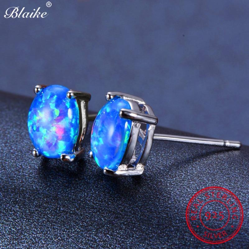 Blaike 100% Genuine 925 Sterling Silver Oval Blue Fire Opal Stud Earrings  For Women Fine 65d9b564baa8