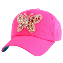 cheap promotion girl boy children lovely butterfly rhinestone luxury snapback hat 4-12 year child kids student cute baseball cap