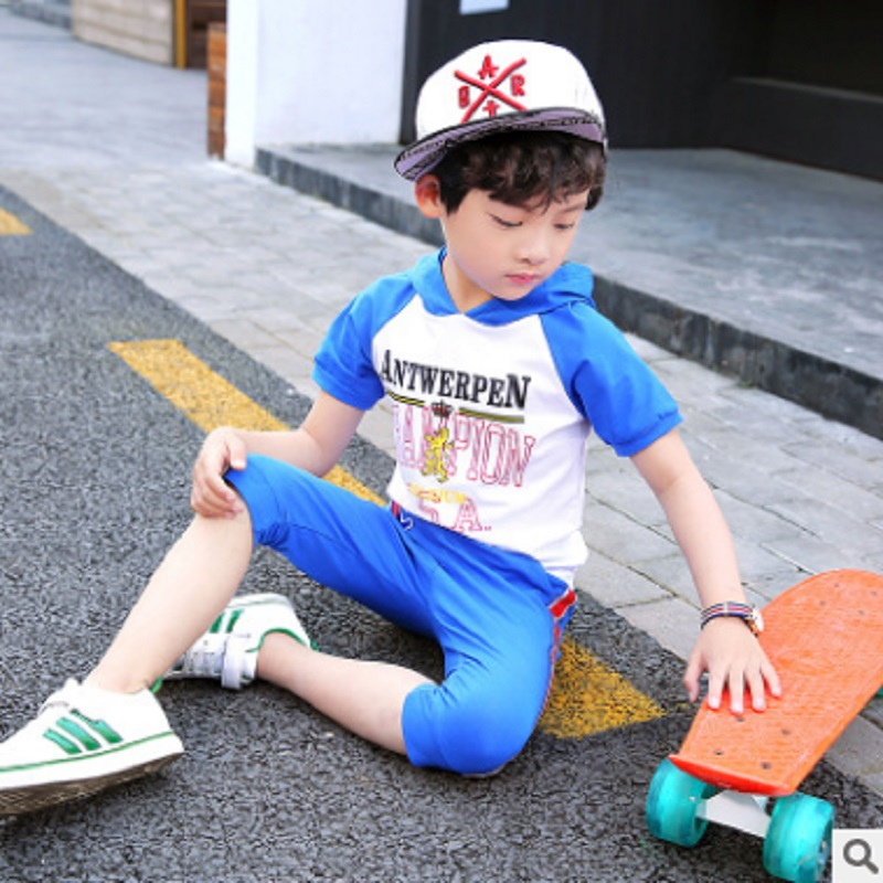 Boys Fashion Clothing Sets Spring and Summer 2017 New  Kids Clothes Sports Sets Childrens Clothing Sets 2 Colors ly438 Size4-14<br>