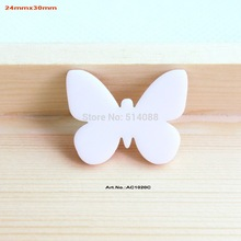 (80pcs/lot) White Butterfly Eco-Friendly Acrylic Gift Crafts Art Projects Supplies-AC1020C