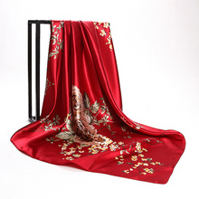 Red Silk Scarves China 90*90cm Fashion Accessories Women Chinese Red Rose Hijab Scarves Spring Autumn Satin Square Scarf