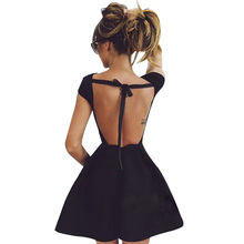 2017 Backless Bandage Party Dress Princess Women Black Sexy elegant Evening Victorian Summer dresses vestido de festa D0391(China)