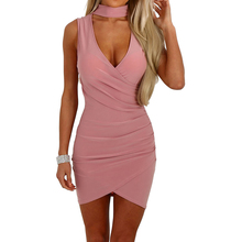 Buy Women Bandage Bodycon Vestidos Sexy Halter Neck Dress Evening Sexy Party Clubwear Slim Fit Sleeveless Mini Dress Solid Sundress
