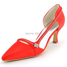 Women Red High Heel Pointed Toe Rhinestone Pumps Satin Bride Bridesmaid Wedding Bridal Prom Evening Dress Shoes A003 Ivory White