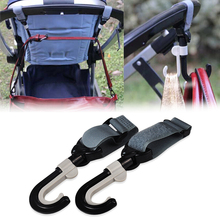 Stroller Hook Hanger Pothook Baby Stroller Pram Double Rotate Hook Pushchair Hanger Stainless Steel Shaft