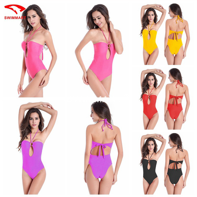 2017 new solid color halter-style bikini female Siamese, European stations plus fertilizer to increase M-XXXL piece swimsuit<br><br>Aliexpress