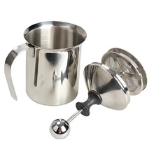 400ml Coffee Milk Frother Silver Kitchen Tools Stainless Steel Double Mesh Milk Creamer Foam Coffee Making Tool(China)