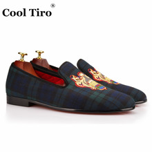 COOL TIRO Fashion men Lattice canvas embroidery Loafers Smoking Flats Handmade Dress Shoes Party and Wedding Casual Shoes