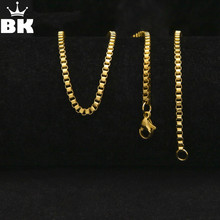 Buy Hip Hop Gold Color Stainless Steel Box Chain men Bling Bling Personality 3mm* 30inch Punk Necklace for $1.81 in AliExpress store
