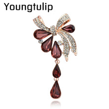 Youngtulip 3 Colors Available Big Crystal Water Drop Brooches For Women Wedding Pin And Brooch Fashion Scarves Buckle Corsage(China)