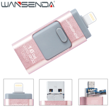 WANSENDA 3 IN 1 USB 3.0 OTG Lightning USB Flash Drive Pen Drive for iPhone 7/7 plus/6/5/5s/iPad/Android 16GB 32GB Pendrive