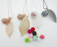 Pretty Leaf with Nice Look Openable Locket DIY Harmony Chime Ball Pregnant Bijoux Lava Bead Felt Balls Diffuser Necklace(China)