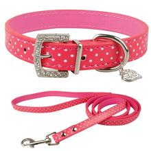 Cute Polka Dot Pu Leather Dog Collar and Leash Puppy Leads Set for Small M dogs