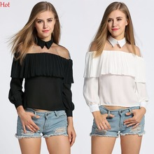 Women Clothes Mesh Blouse Sheer Tops Shirt 2017 Fashion Ruched Cap Women Chiffon Long Sleeve Patchwork Shirts Blusas SVH031196