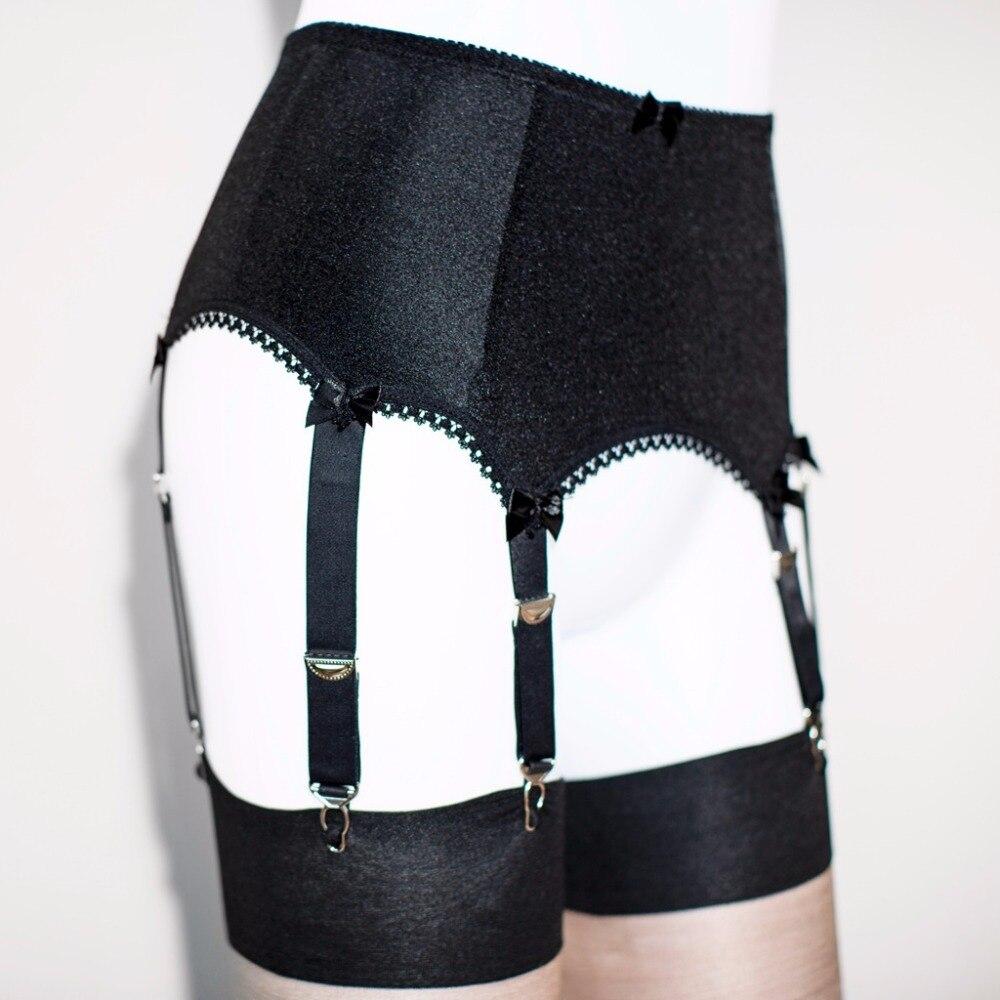 Black Silk Satin Retro Vintage Suspender Garter Belt 6 Strap Plus Size Lingerie