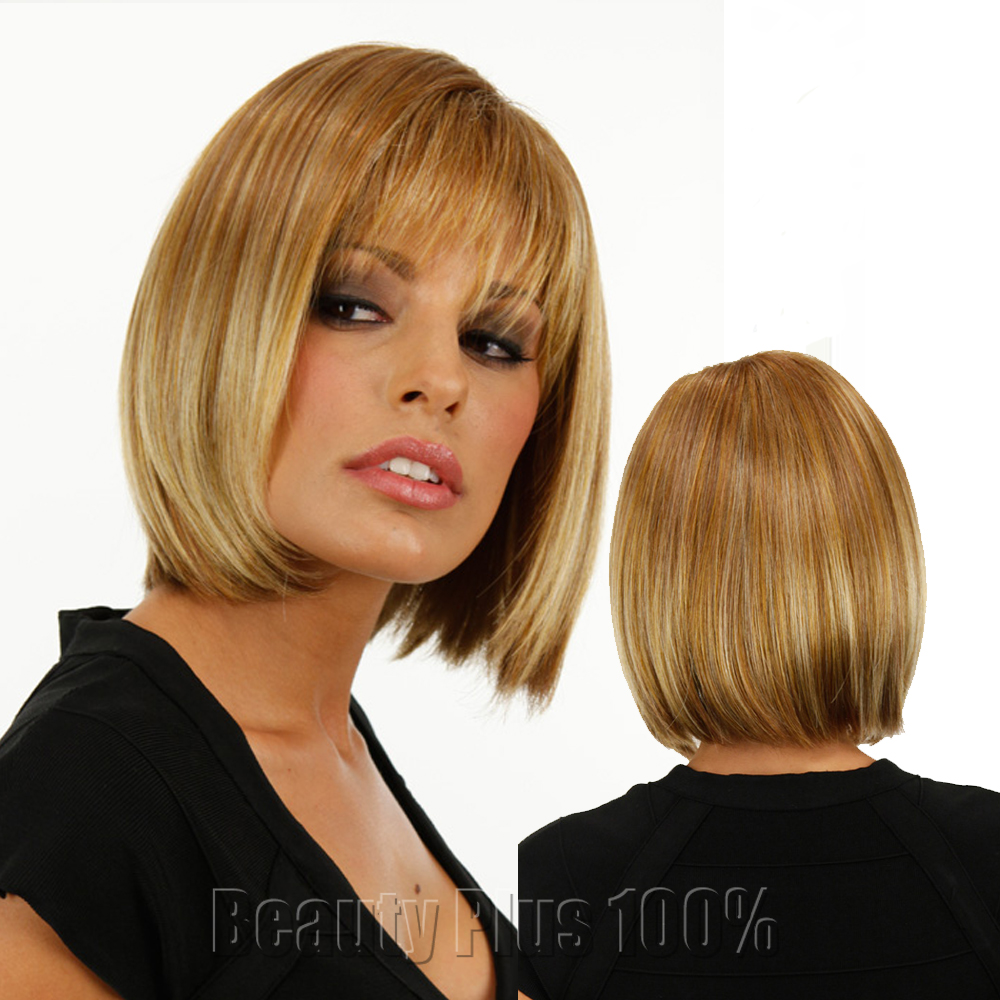 Blonde Wig Silky Straight Short CLASSY Bob style Synthetic wigs for women Cheap Fake Hair Pixie Cut Female free shipping<br><br>Aliexpress