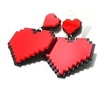 4 Colors Red Purple Pink White Heart Earrings For Sale, Romantic Acrylic Stud Earrings For Girlfriend