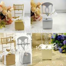 Free Shipping 20 X Silver/Gold Miniature Chair Candy Box Place Card Holder With Ribbon And Pendant Best For Wedding Favors Box(China)