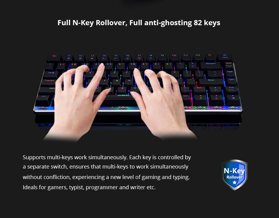 Ajazz AK33 gaming keyboard 82 keys RussianEnglish RGB backlight ergonomic wiredwireless mechanical keyboard conflict-free  (13)