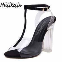 MeiLiKeLin Women Sexy transparent sandals peep toe T-Strap high heels shoes woamn party wedding dress Crystal sandals 35-40