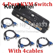 USB 2.0 KVM 4 Port Switch VGA SVGA Switcher Hub Splitter Box Selector Adapter + 4 Cable for Control Multiple PC Desktop Monitor(China)