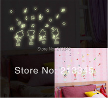 [Fundecor] DIY Monkey Music Note Luminous wall sticker for kids rooms baby children bedroom decal home decor glow in the dark