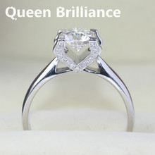 Queen Brilliance Genuine 14K 585 White Gold 1 Carat GH Color Engagement Wedding Moissanite Diamond Ring With Real Diamond Accent