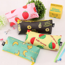 New Korean Creative Stationery Fruit Pencil Bag Waterproof Portable Small Fresh PU Large Capacity Storage Bag Student Supplies(China)