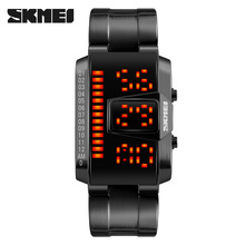 men sport watch SKMEI brand 50M waterproof swimming watches fashion LED display alloy band black wristwatches relogio masculino