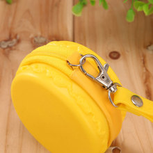 1PC 7.5X3.5CM 2017 NEW STYLE Yellow Storage Bag Macarons Hand Bag Zipper Gel Candy Color Cute Mini Lady Change Key Bags