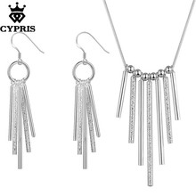 CYPRIS wholesale retail set wedding party bridal party jewelry sets lines fashion silver jewellery earring necklace fancy chic(China)