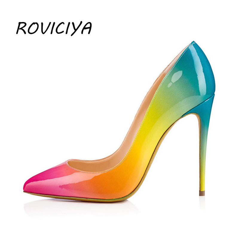 Womens Pointy Toe rainbow Stilettos High Heel Slip On Pumps Party Shoes Casual