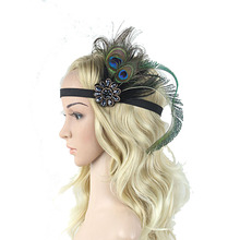 1PC Vintage Women Ladies Rhinestone Faux Peacock Feather Fascinator Elastic Head Band Hair Band Prom Party Accessory