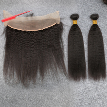 7A Mongolian Kinky Straight Lace Frontal Closure with Bundles 100 Human Hair Kinky Straight with Lace Frontal Closure 4 pics/lot