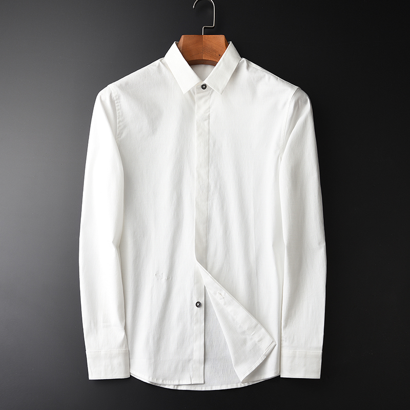 Minglu Brand Cotton Spandex Shirts New Arrival White Long Sleeve Slim Simple Men's Shirts Hight Quality Spring Autumn Shirts 4XL