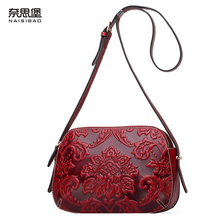 High quality Chinese style Genuine leather name brand female fashion pattern handbag Vintage shoulder Messenger Bag Women